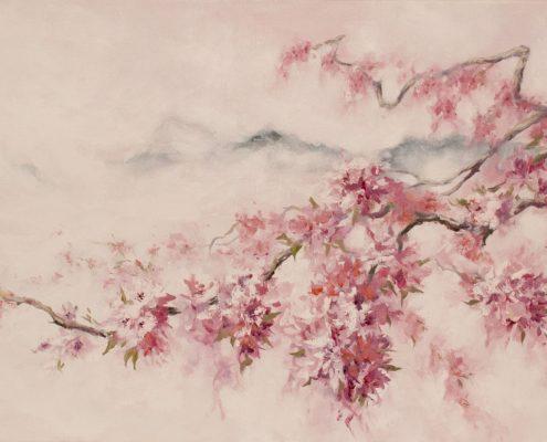 Японски стил в интериора - картина с вишни