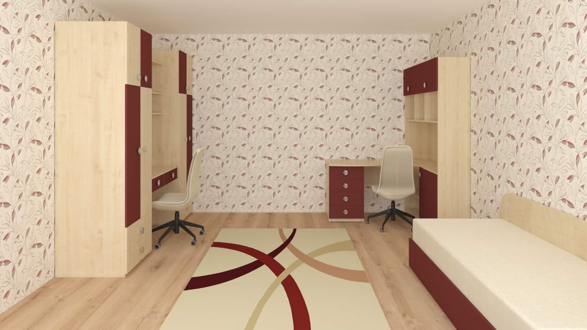 Двоен гардероб и ъглова етажерка с бюро