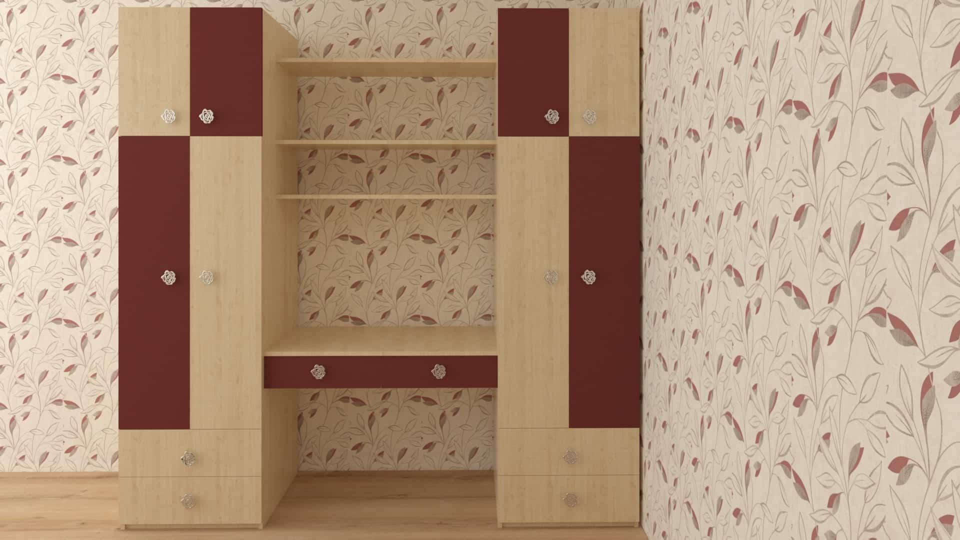Двоен гардероб с бюро в цветове явор и бордо