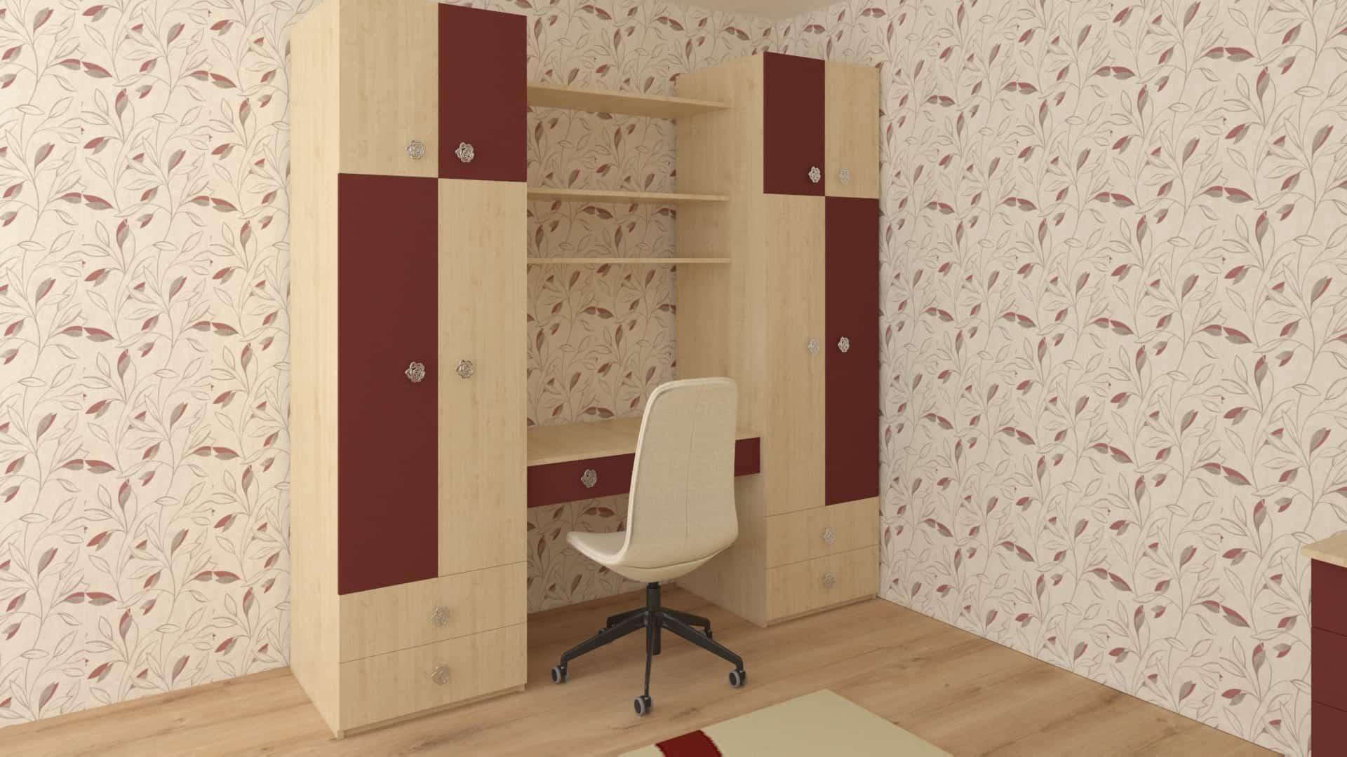 Двоен гардероб с бюро