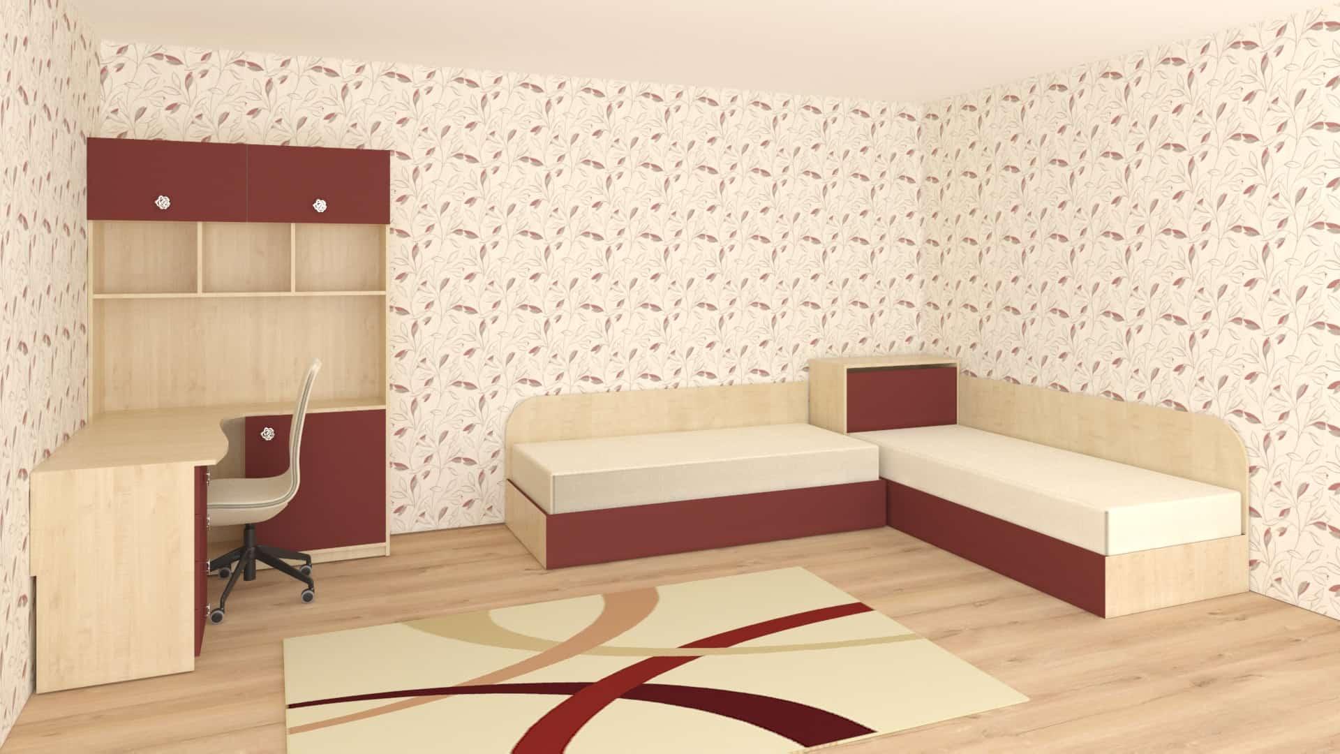 Ъглова етажерка с бюро и комплект ъглови легла с ракла
