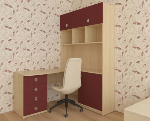 Ъглова етажерка с бюро