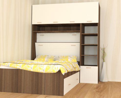 Вградена спалня с етажерка
