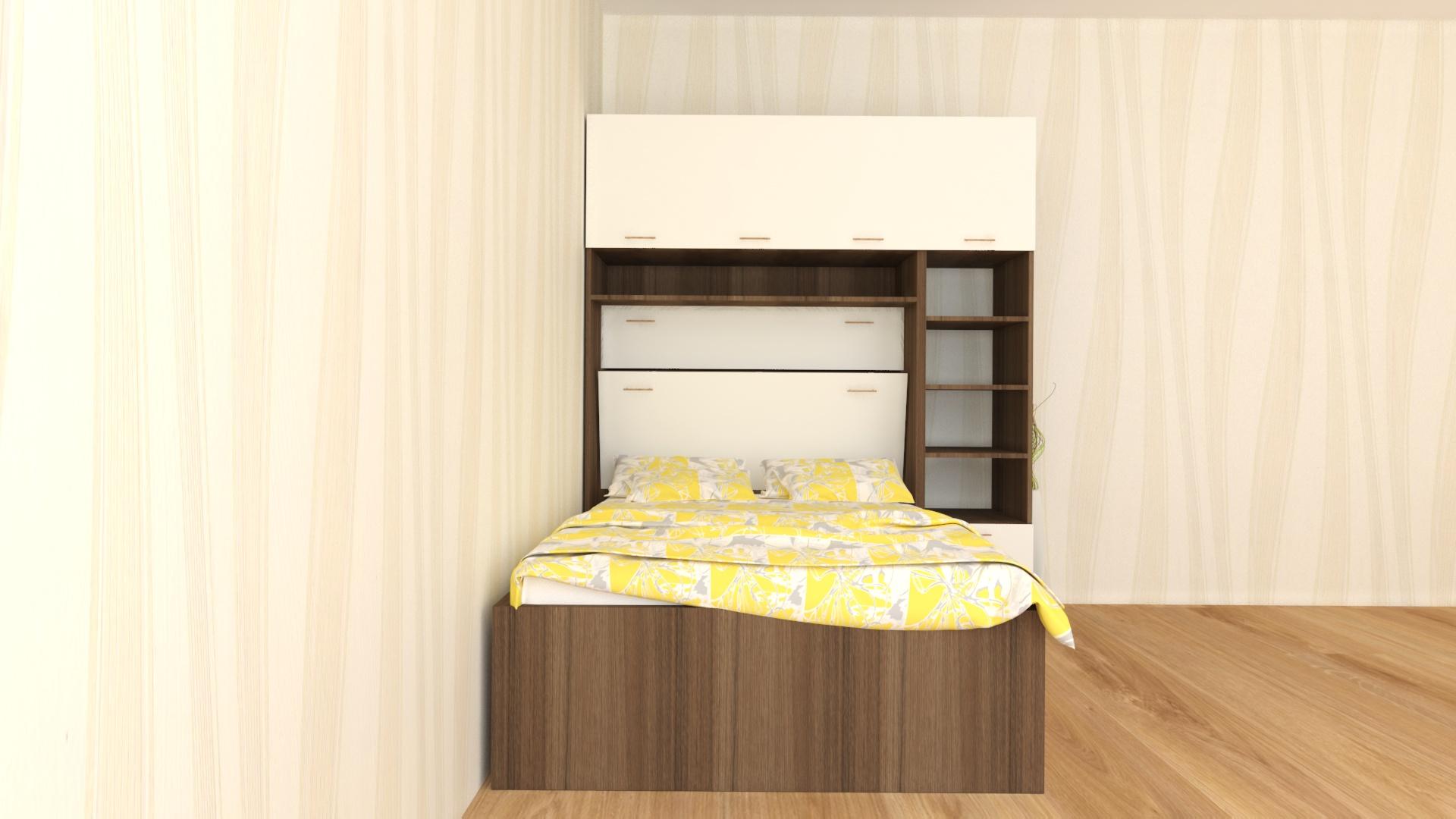 Вградена спалня с етажерка -единичен страничен модул