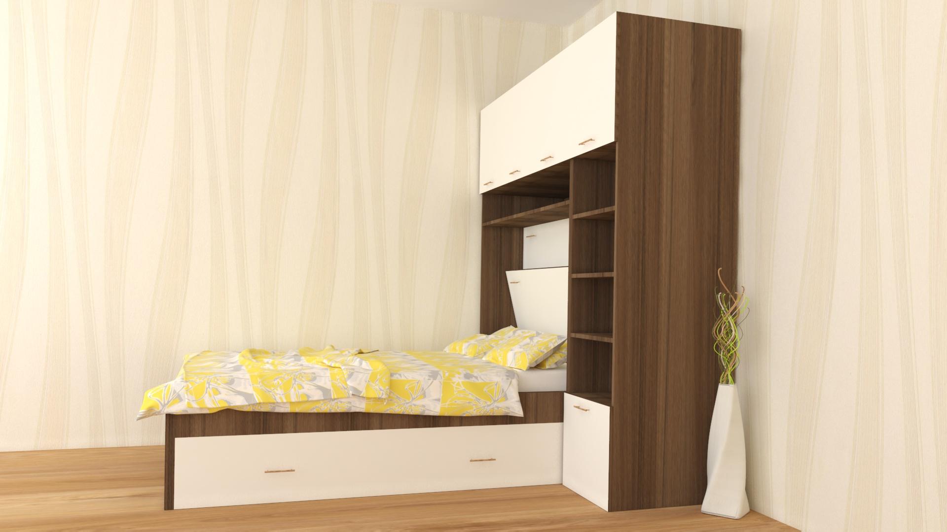 Вградена спалня с гардероб и етажерка_страничен поглед