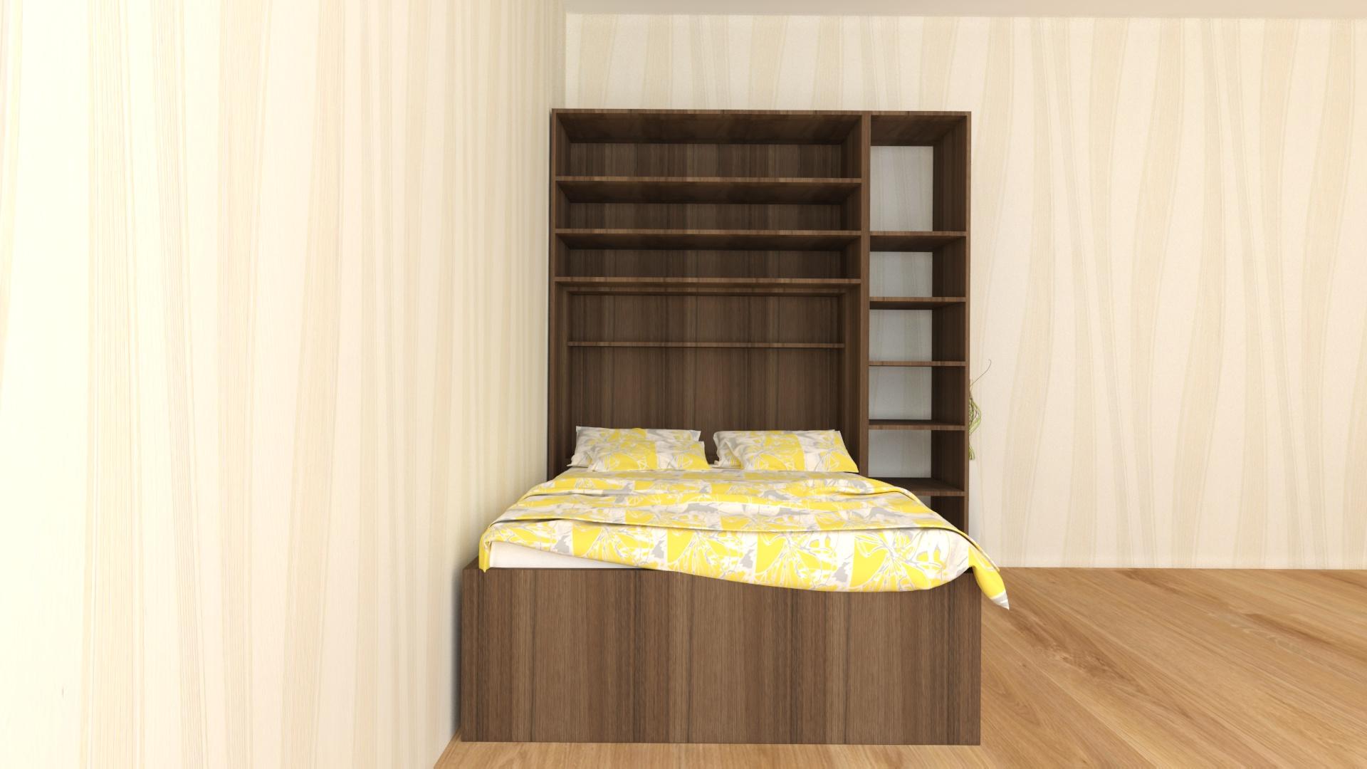 Вградена спалня с етажерка -вътрешно разпределение