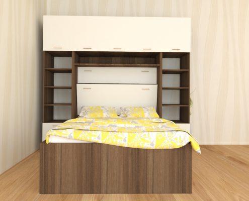 Вградена спалня в гардероб и етажерка с два странични модула_фронт