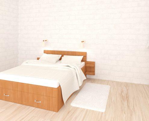 Спалня - ПДЧ, елша, с рафтчета и 2 чекмеджета, 3d визуализация
