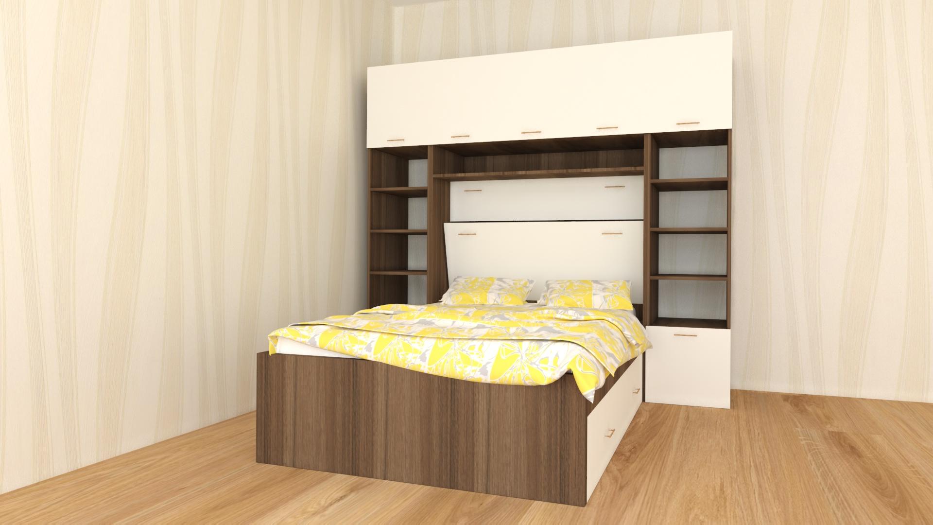 Вградена спалня в гардероб и етажерка с два странични модула