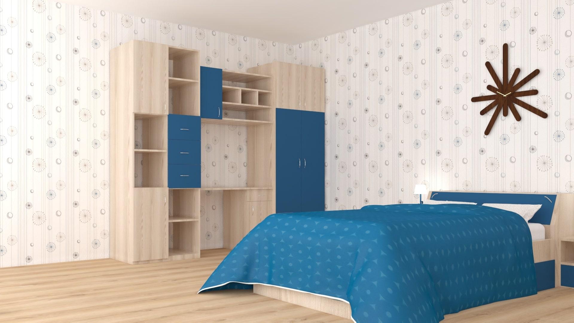 Синя спалня и гардероб