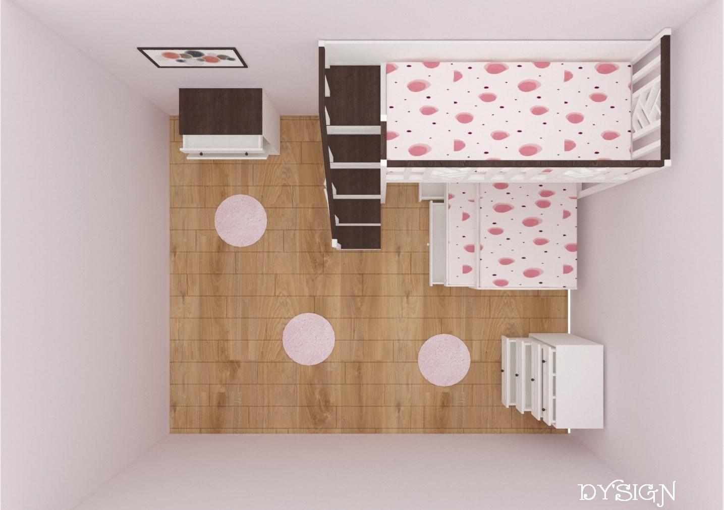 Детско двуетажно легло със скрин и ракла в план
