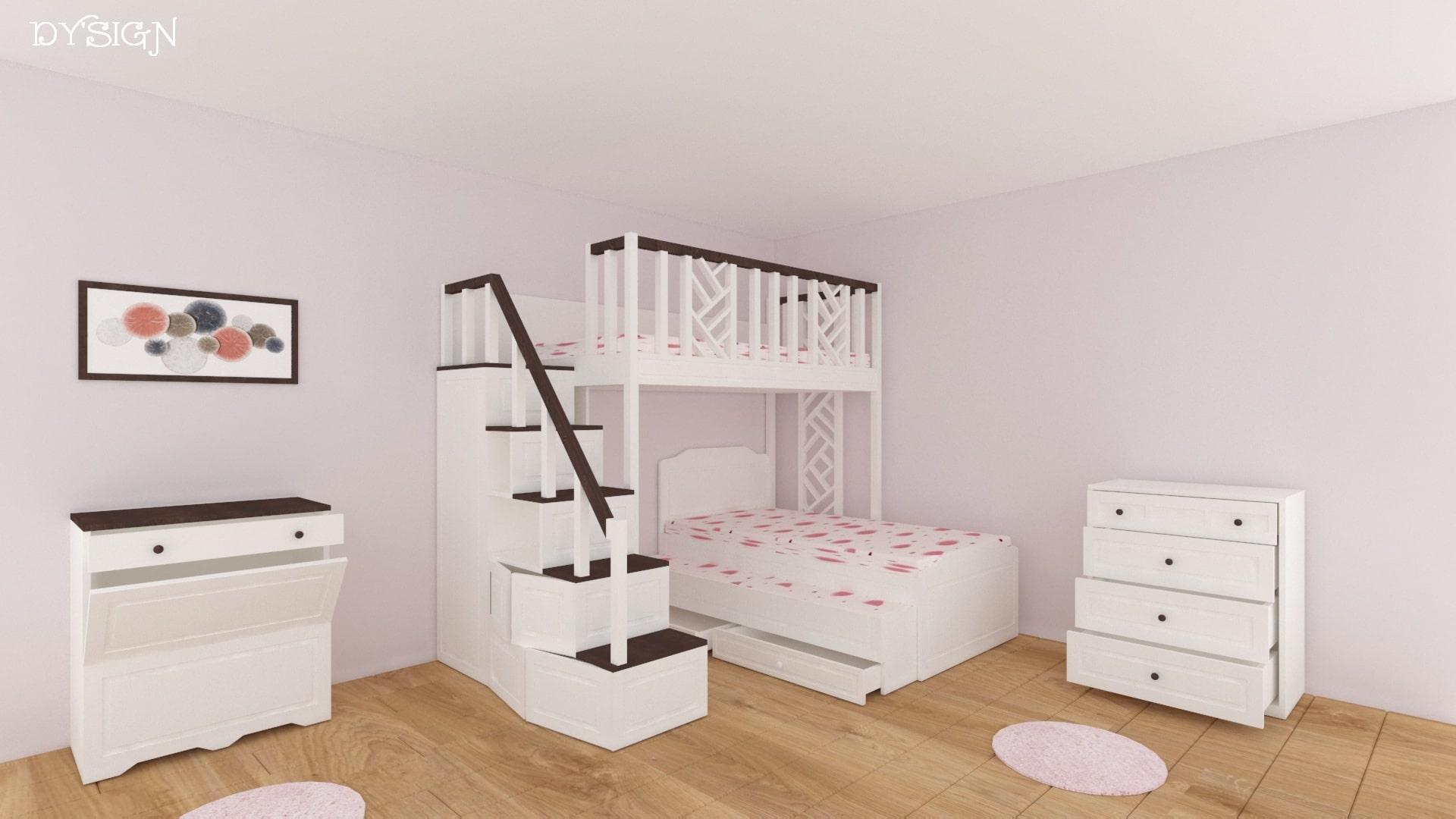 Детско двуетажно легло с ракла и скрин_поглед отстрани