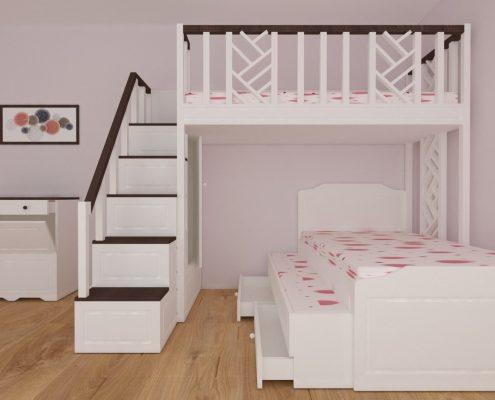 Детско двуетажно легло с ракла_поглед отпред