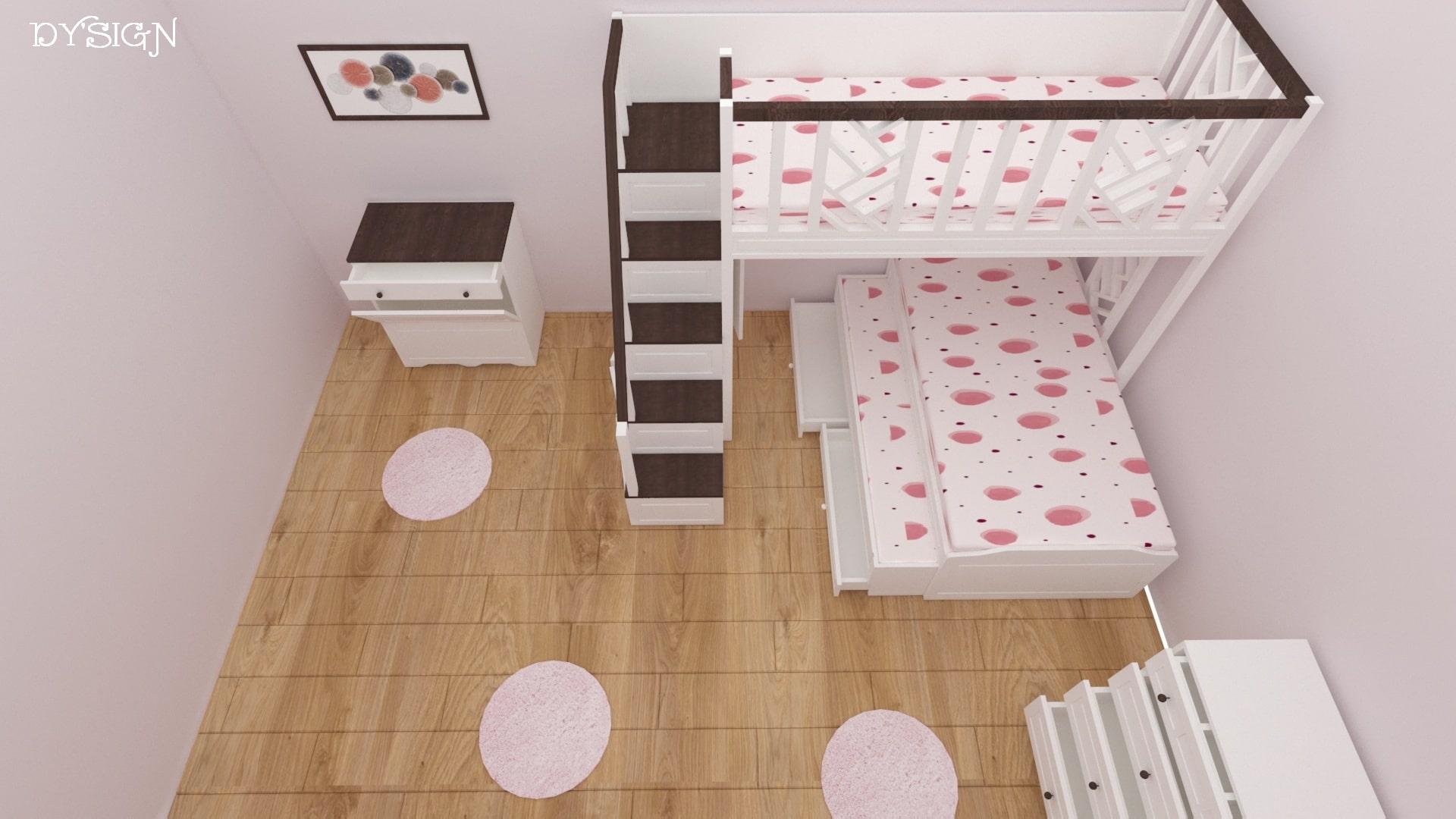 Детско двуетажно легло със скрин и ракла