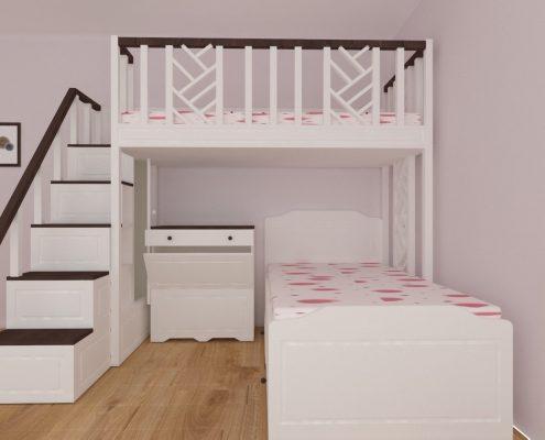 Детско двуетажно легло с ракла под него