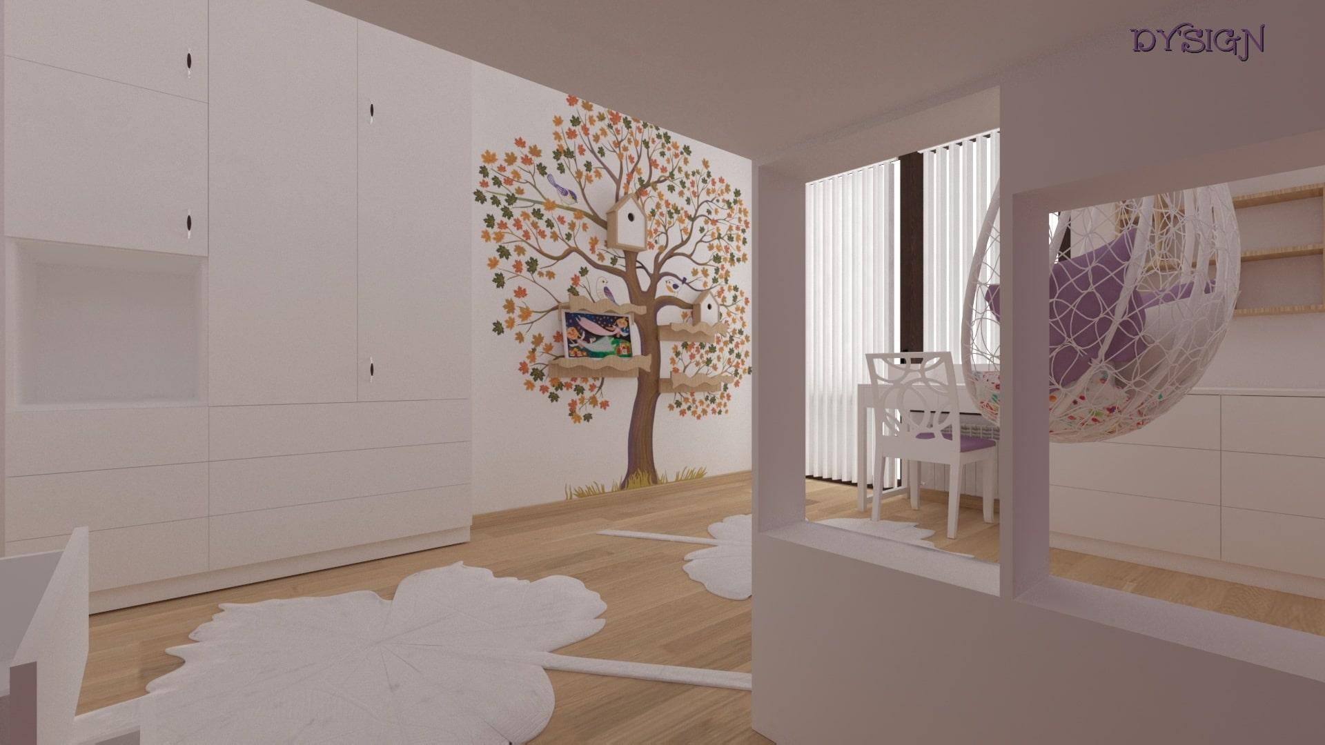 Детска стая Божидара_ рисувано дърво на стената