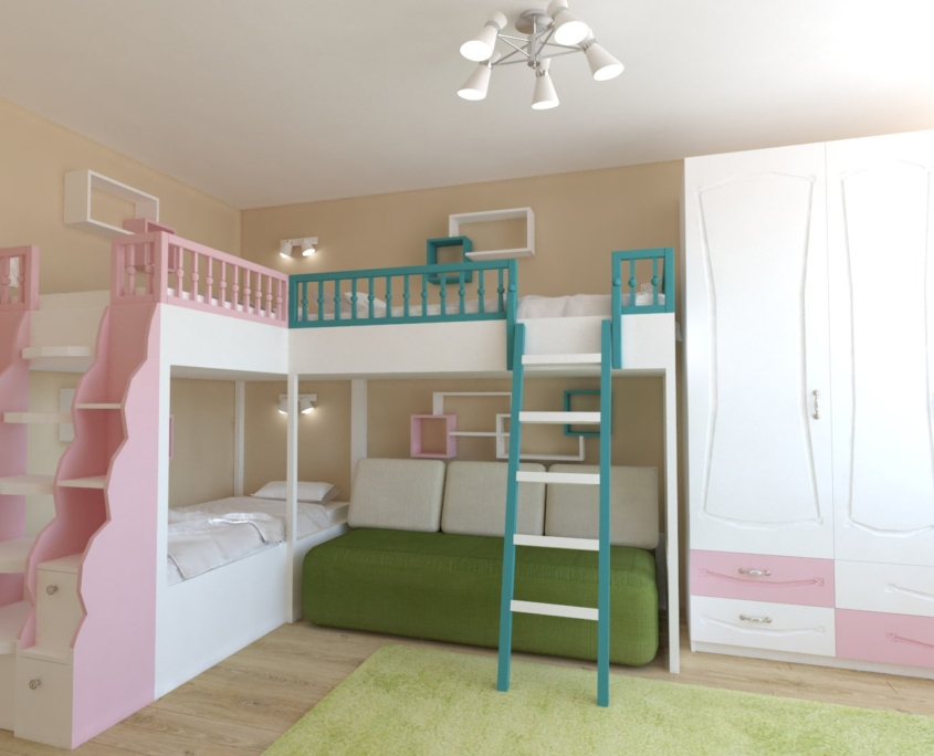 Цветна детска стая_легла с диван и гардероб