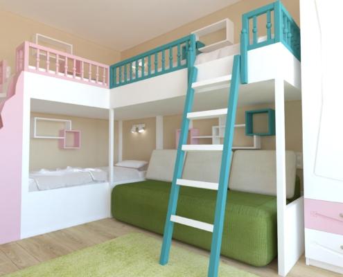 Цветна детска стая за 3 деца