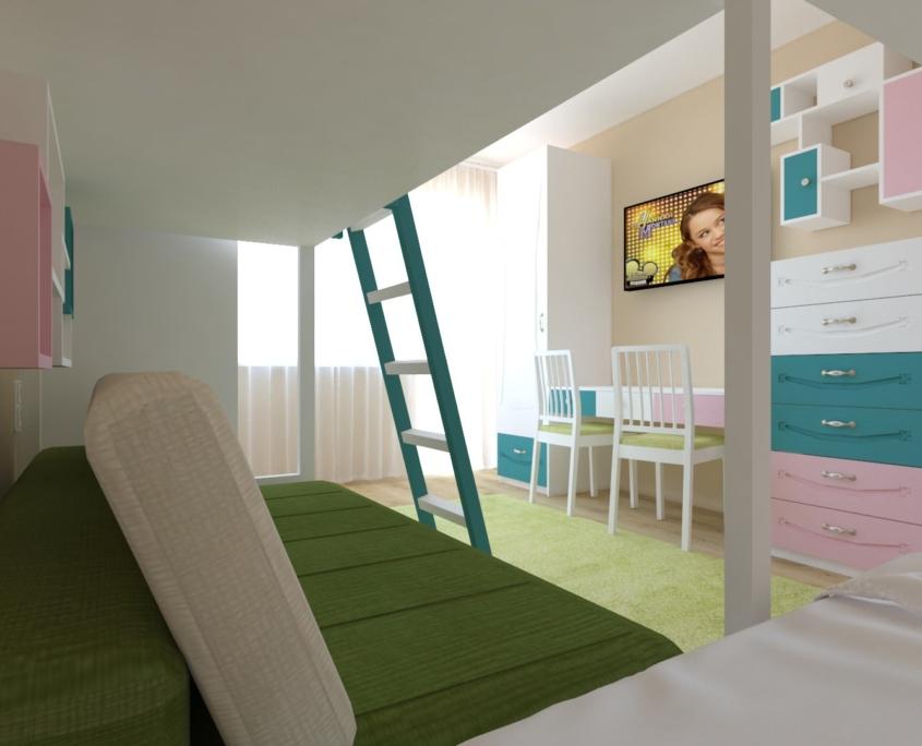 Цветна детска стая_поглед към бюро 2