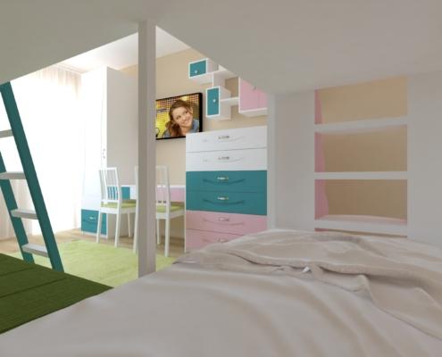 Цветна детска стая_поглед към бюро