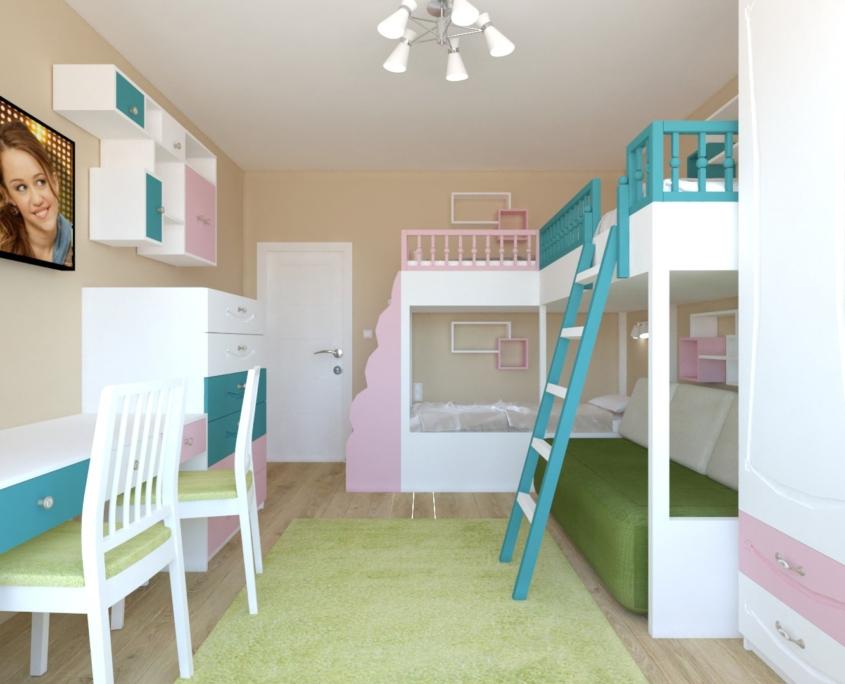 Цветна детска стая_поглед към врата