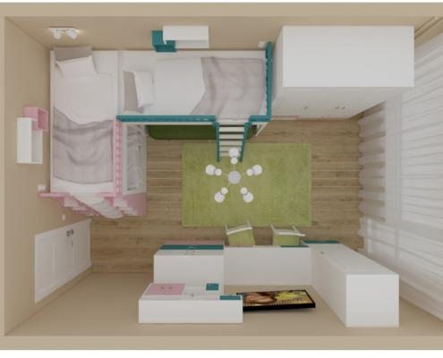 Цветна детска стая_поглед отгоре