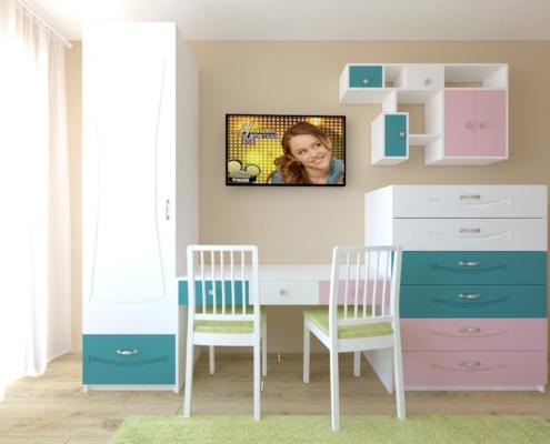 Цветна детска стая_стена с бюро