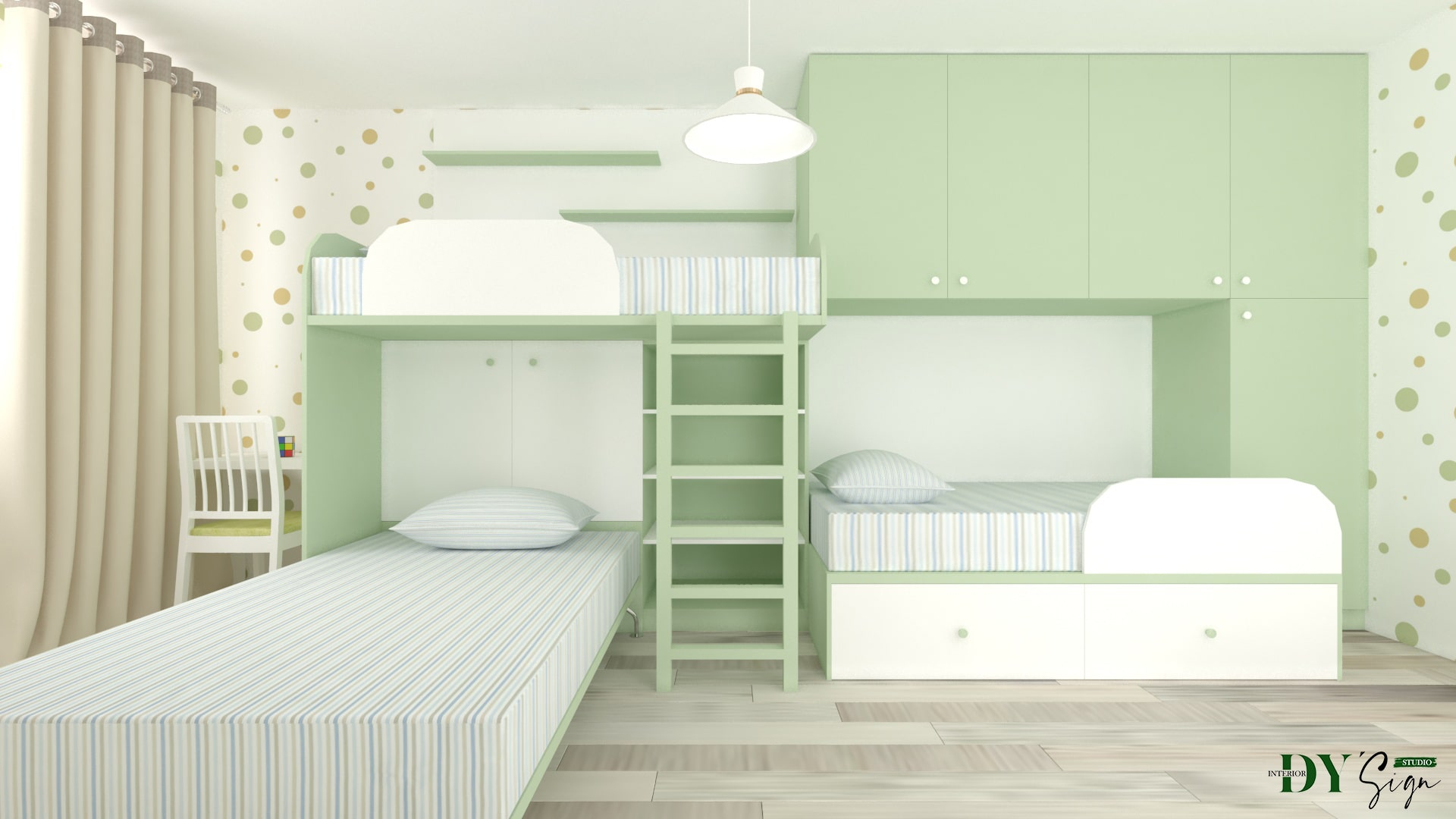 Интериор проекти - Детска стая в зелено и оранж