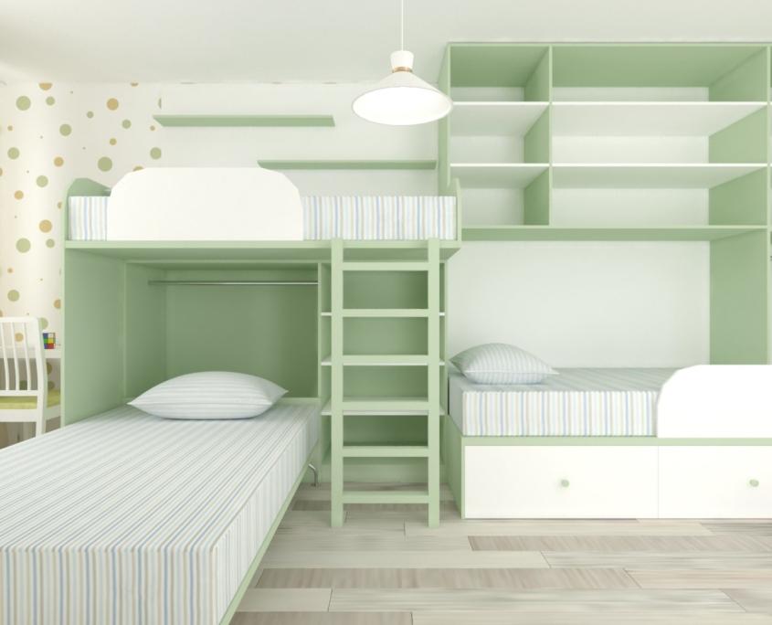 Детска стая в зелено и оранж