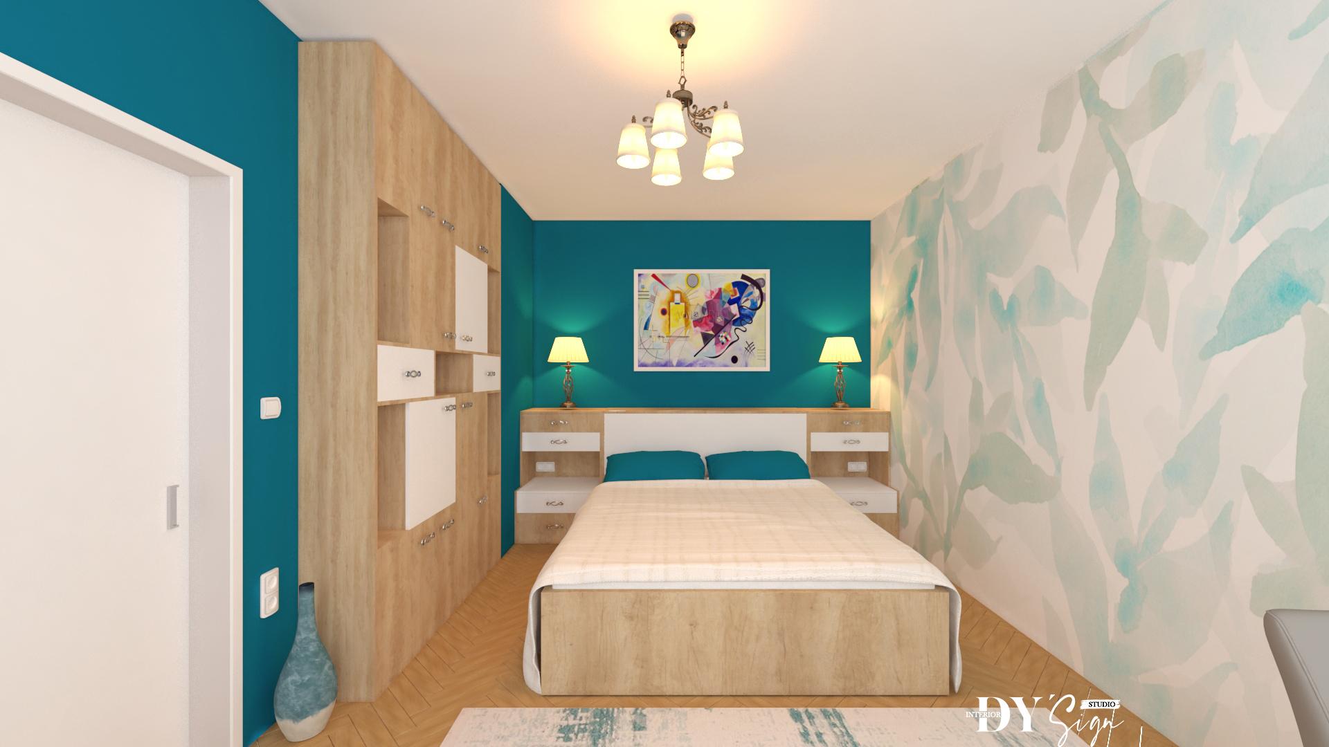 Класическа спалня в романтично синьо