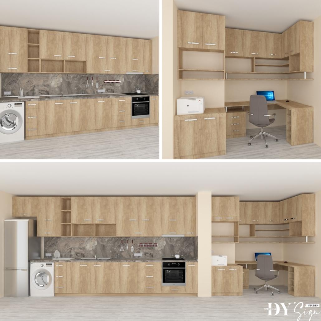 Интериорни проекти - Кухня и домашен офис в едно