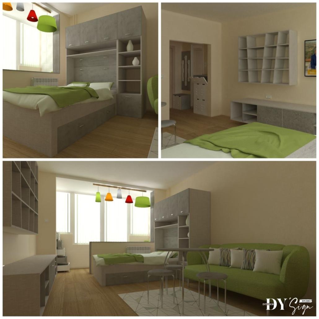 Проекти - Вградена спалня в гардероб и етажерка