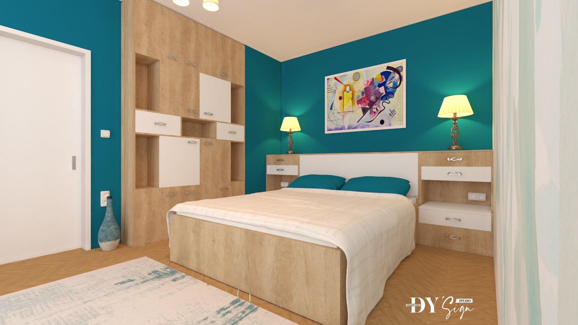 Интериор проекти - Класическа спалня в романтично синьо