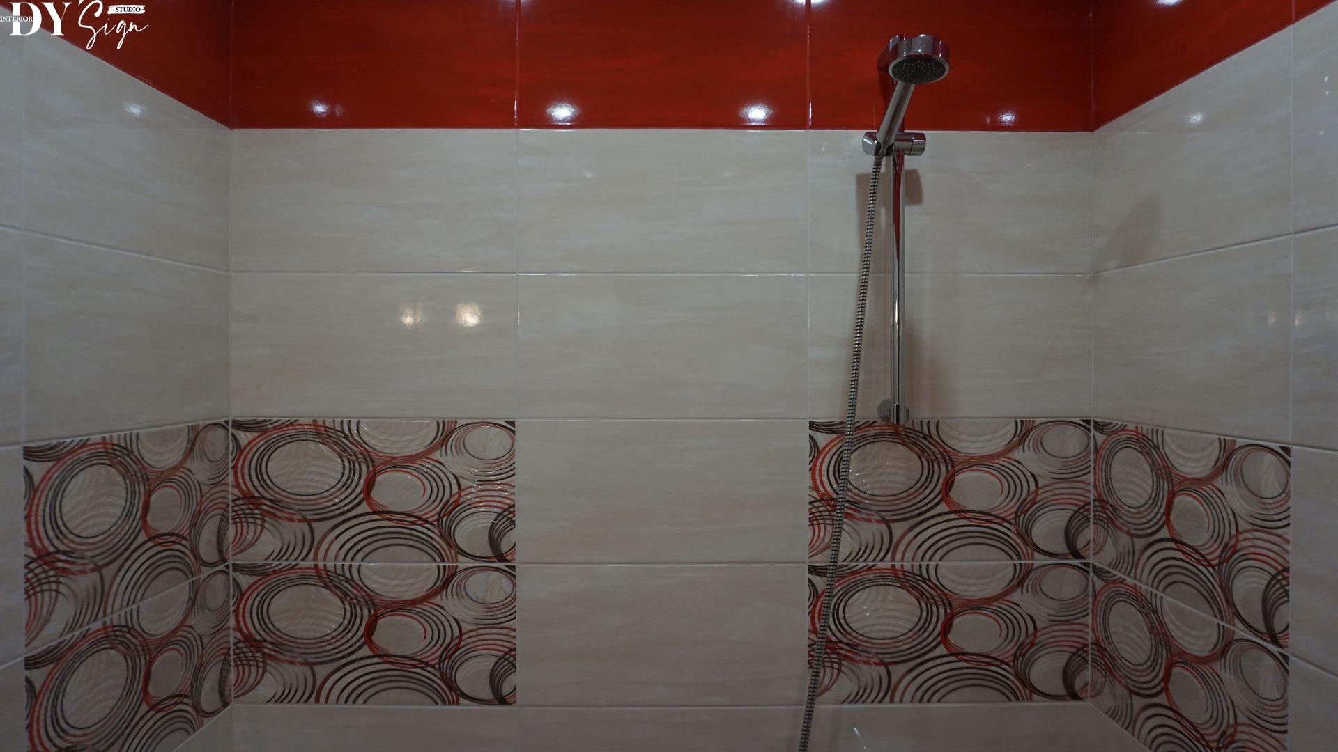 малка червена баня, плочки осака