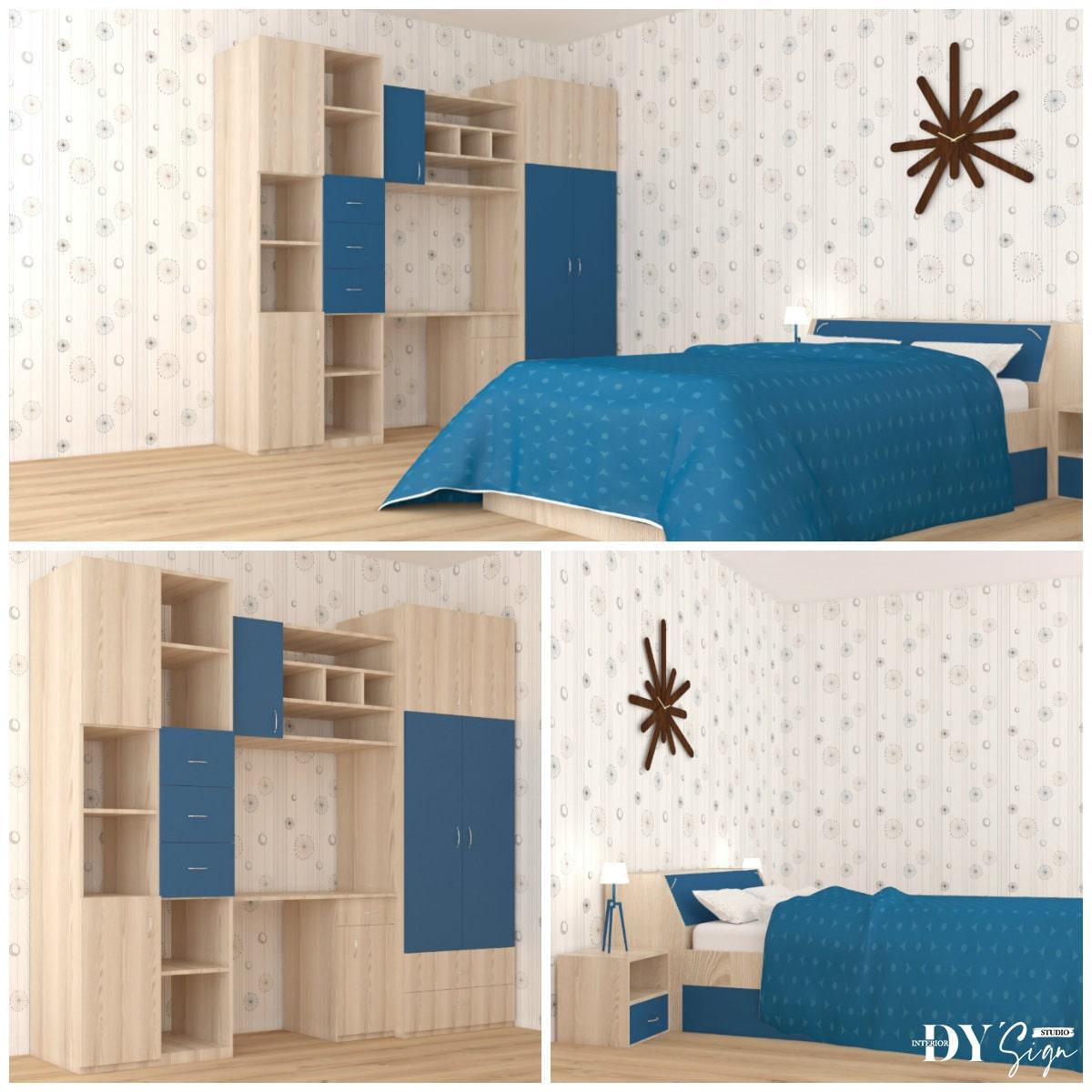 Интериорни проекти - синя спалня с гардероб и бюро